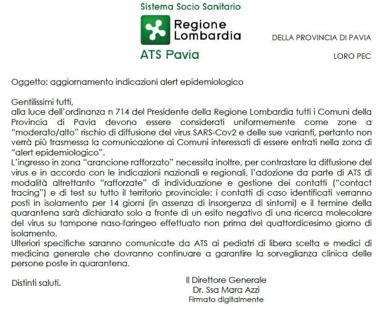 Ats Pavia - aggiornamento alert epidemiologico