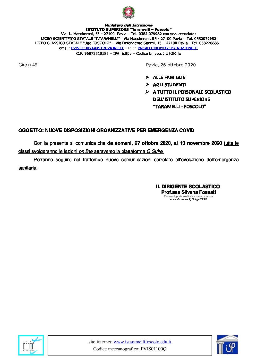 CIRC.N.49 Nuove disposizioni organizzative per emergenza Covid dal 27.10.2020