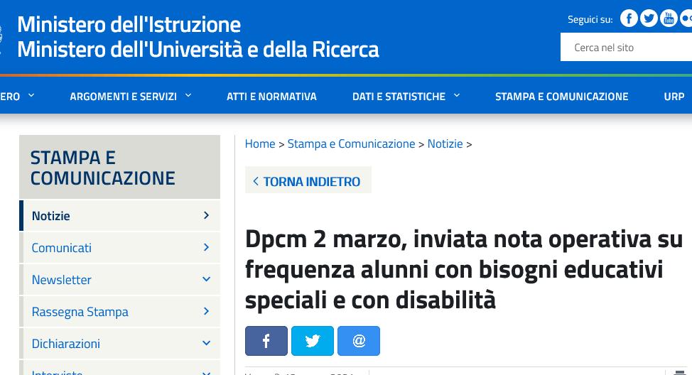 Nota – Decreto del Presidente del Consiglio dei Ministri del 2 marzo 2021, articolo 43 – alunni con bisogni educativi speciali e alunni con disabilità