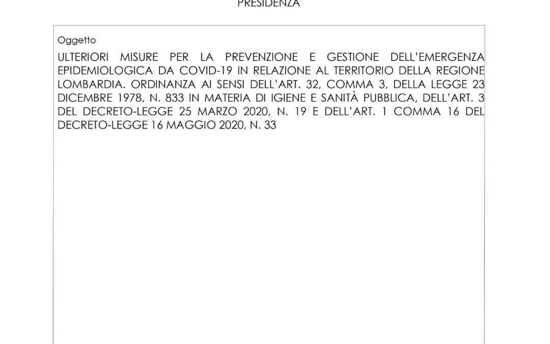 Ordinanza 714 Regione Lombardia e nuove disposizioni sull'attività didattica