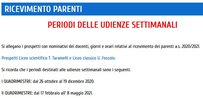 RICEVIMENTO PARENTI – SETTIMANA INIZIO LEZIONI 9.30